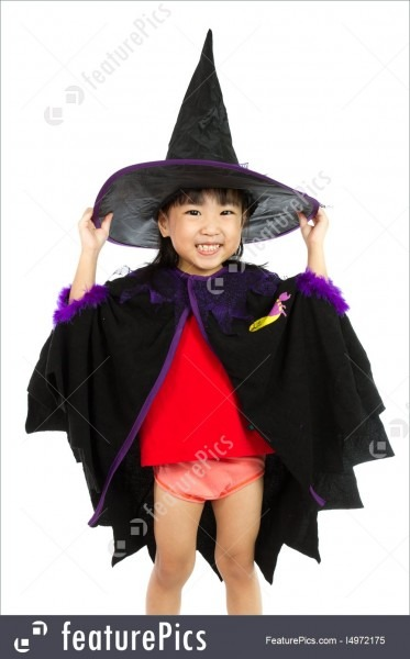 Image Of Asian Little Chinese Girl Wearing Halloween Costume