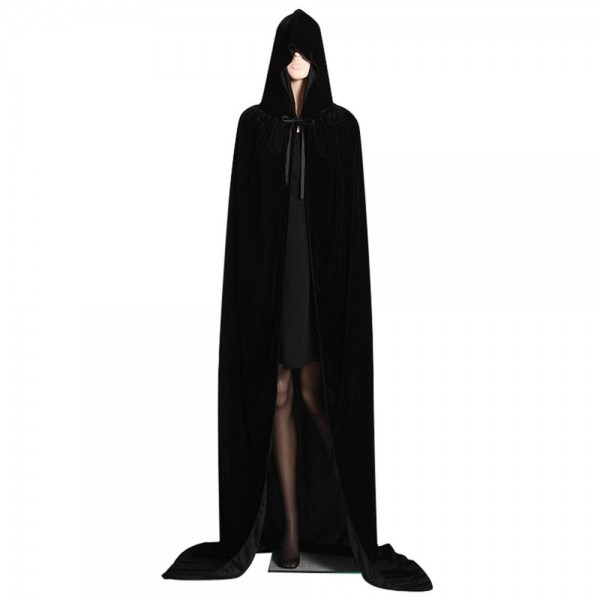 Halloween Costume Adult Velvet Hooded Capes Robe Witch Death