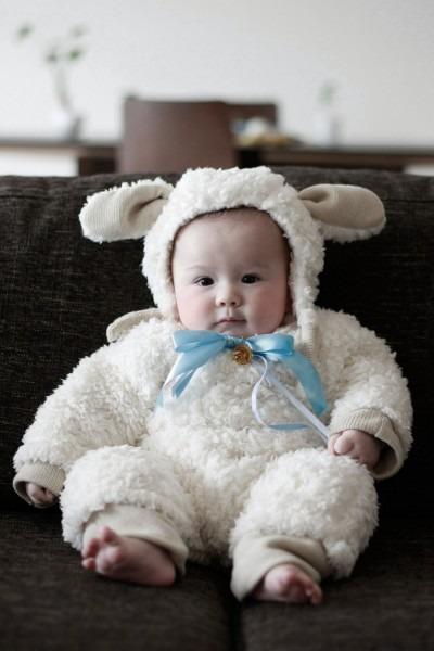Handmade Baby Lamb Costume For Halloween, Sheep Baby Costume