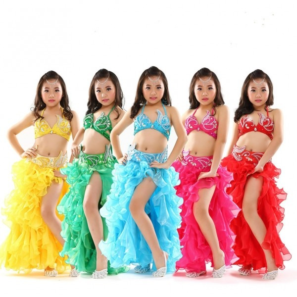 High Quality Bra+belt +skirt Child Bollywood Dance Costumes For