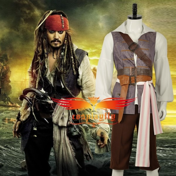 Hot Movie Pirates Of The Caribbean Jack Sparrow Shirt Vest Pants