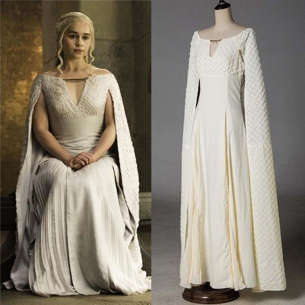 Game Of Thrones 5 Daenerys Targaryen Costumes Cosplay Dress White