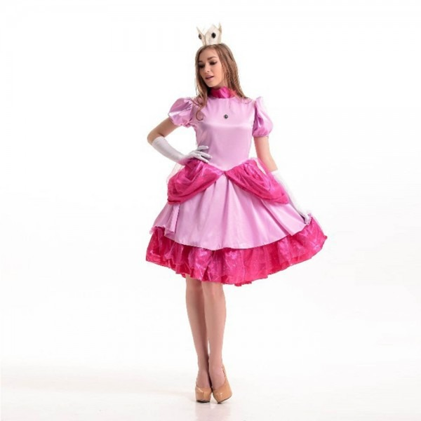 Pink Princess Peach Cosplay Fantasia Woman Halloween Super Mario