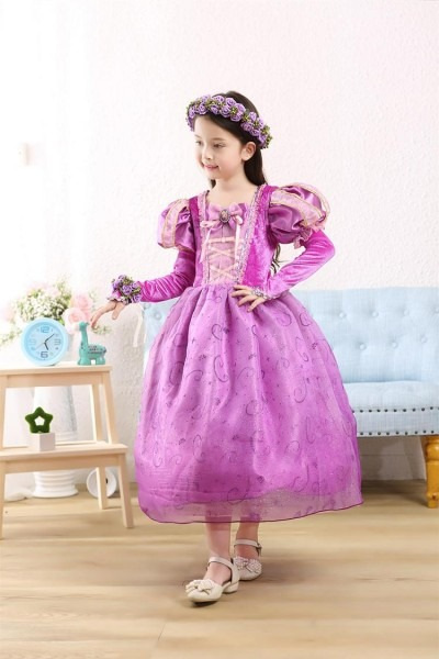 Tangled Princess Rapunzel Costume Kids Christmas Girl Children