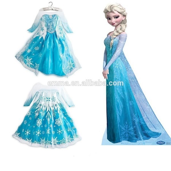 Cheap Frozen Snow Elsa Kids Girls Anna Dresses Princess Dress