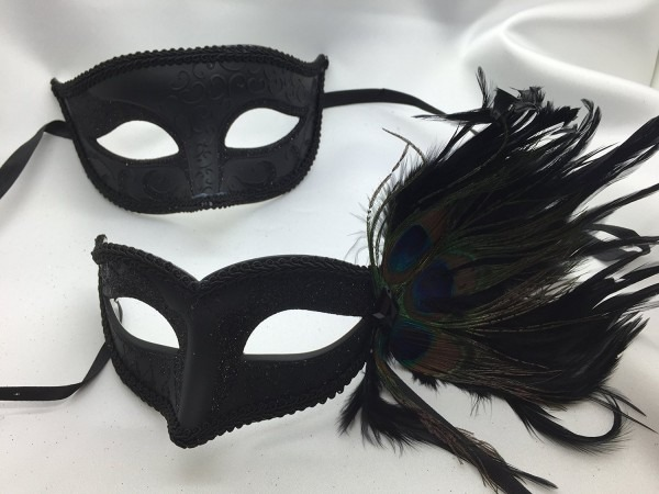 Buy Couples Masquerade Mask, Charming And Sexy Black Peacock Mask