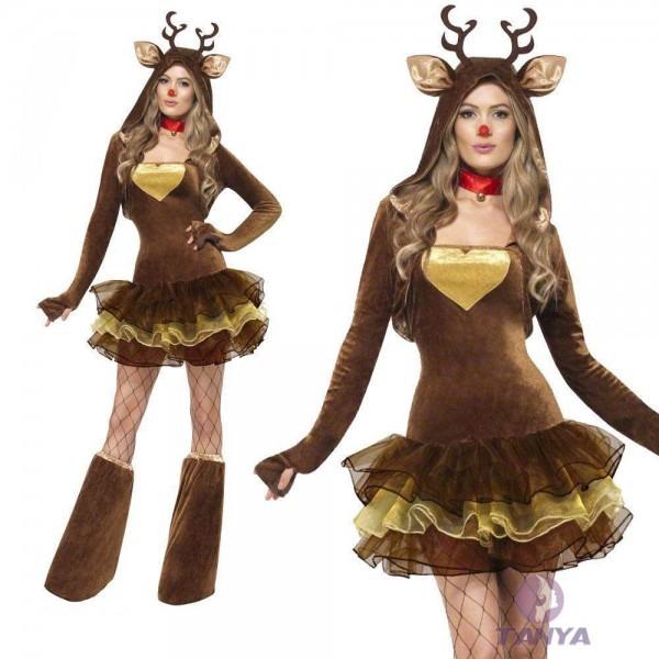 Christmas Xmas Santa Claus Sexy Santa Dress Reindeer Costume