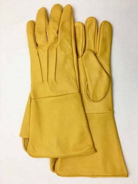 Medieval Renaissance Gauntlet Yellow Leather Gloves Long Arm