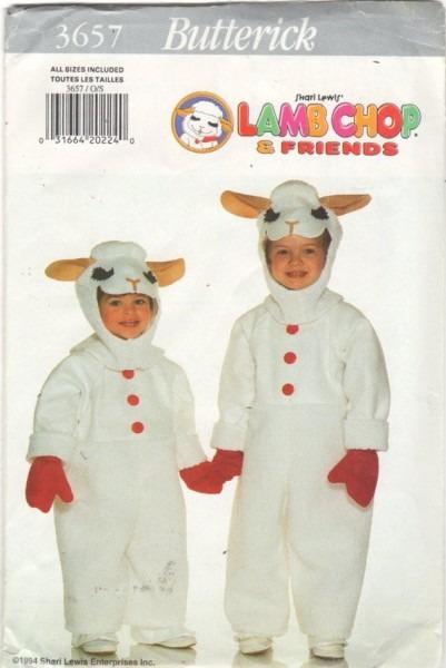 Butterick 3657 Shari Lewis Lambchop Boys Girls Costume Pattern