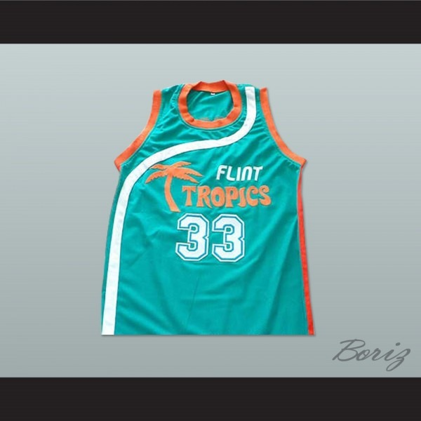 Will Ferrell Flint Tropics 33 Jackie Moon Teal Basketball Jersey