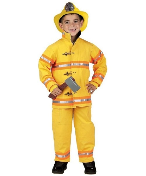 Jr Firefighter Suit With Helmet Costume