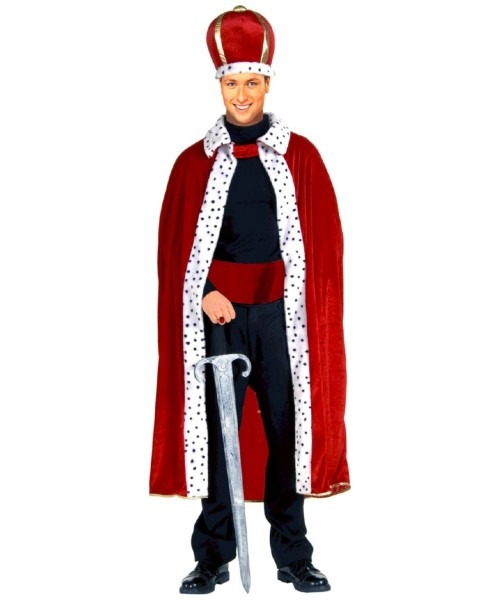 Adult Red King Robe And Crown Set Halloween Costume