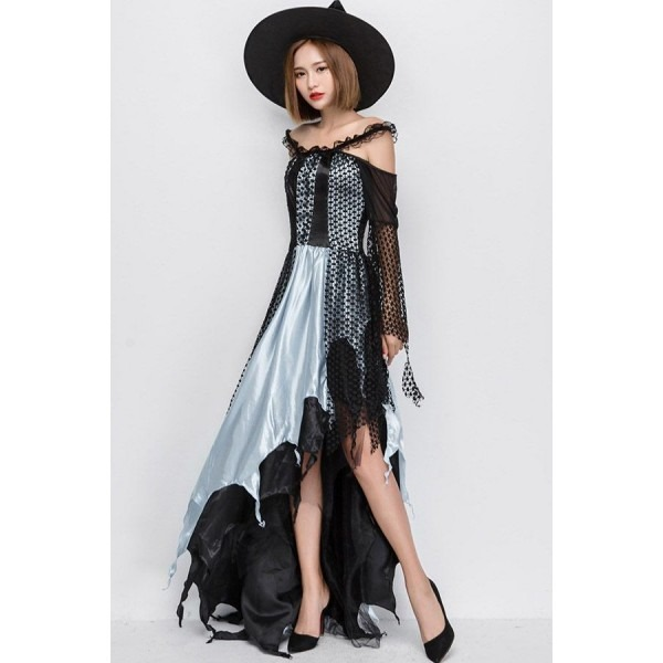Light Blue Sexy Lace Dress Gothic Wicked Witch Halloween Costume