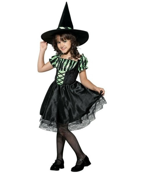 Lime Striped Witch Kids Halloween Costume
