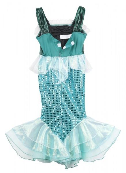 Girls Little Mermaid Costume Turquoise Sequins Dress