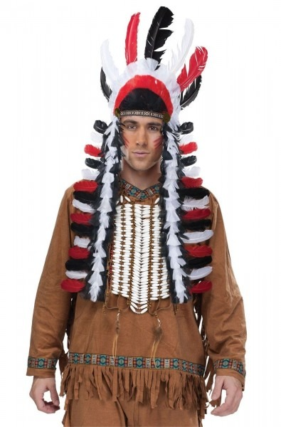 Indian Native American Chief Black Red Feather Headdress Costume