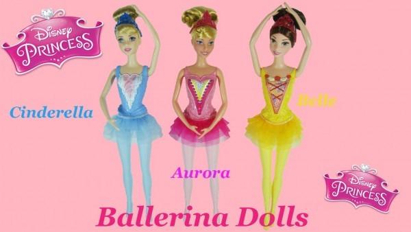 Disney Princess Ballerina Dolls Aurora, Cinderella,& Belle