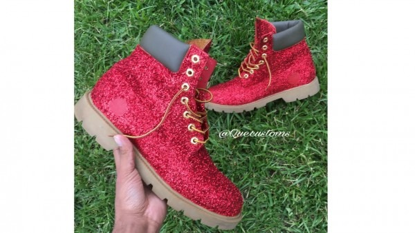 Custom Red Glitter Timberland Boots