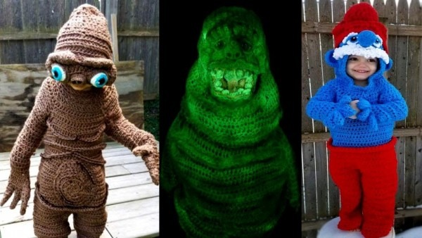 Ohio Mom Crochets E T , Slimer And Smurf Costumes For Her Kids