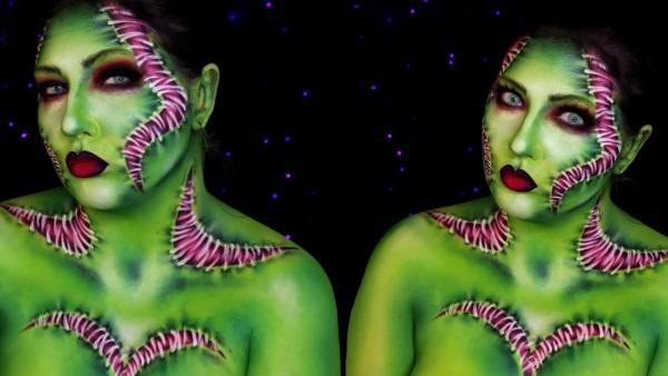 Venus Flytrap Lady Frankenstein Halloween Makeup Tutorial