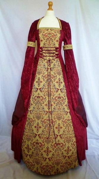 Medieval Dress Pagan Gown Gothic Costume Red Velvet Fantasy Dress