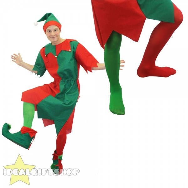 Mens Elf Costume Christmas Fancy Dress With Hat & Tights Santa's