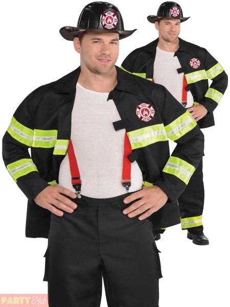 Mens Firefighter Costume Adult Rescue Me Fire Man Uniform