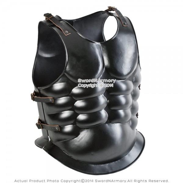 Spartan Roman Black Steel Muscle Breastplate Cuirass Medieval