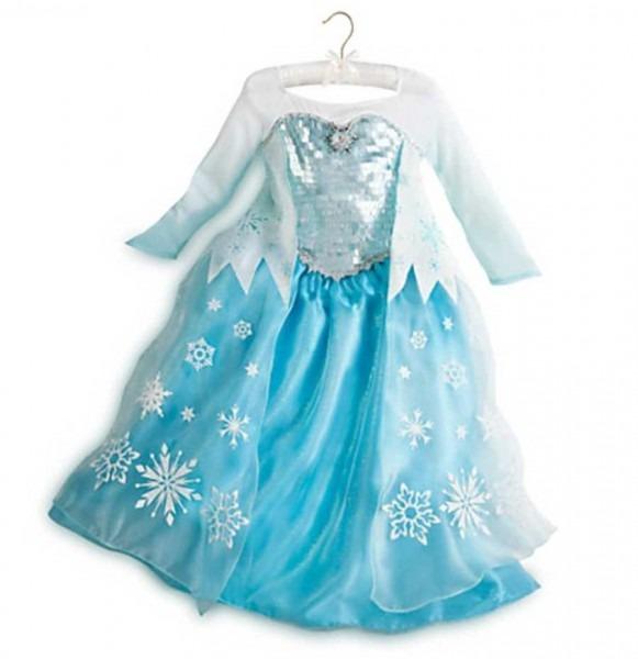 New Disney Store Frozen Elsa Deluxe Edition Blue Costume Dress Sz