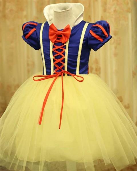 New Snow White Costume Girl Princess Belle Dress Cute Kids