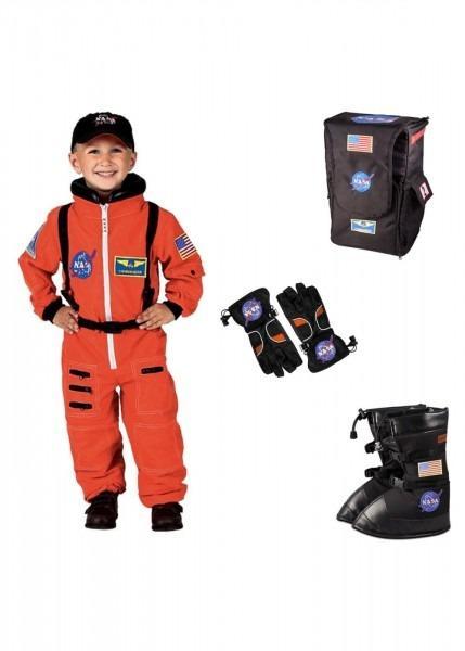 Orange Astronaut Boys Costume Helmet Boots Gloves And Backpack