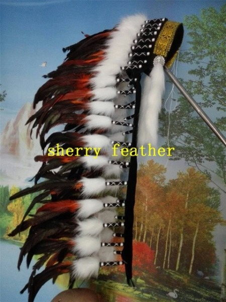 Orange Indian Feather Headdress 36inch High Chief Indian Headdress