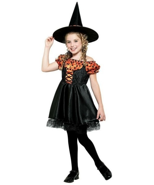 28 Kids Halloween Witch Costume, Toddler Polka Dot Witch Costume