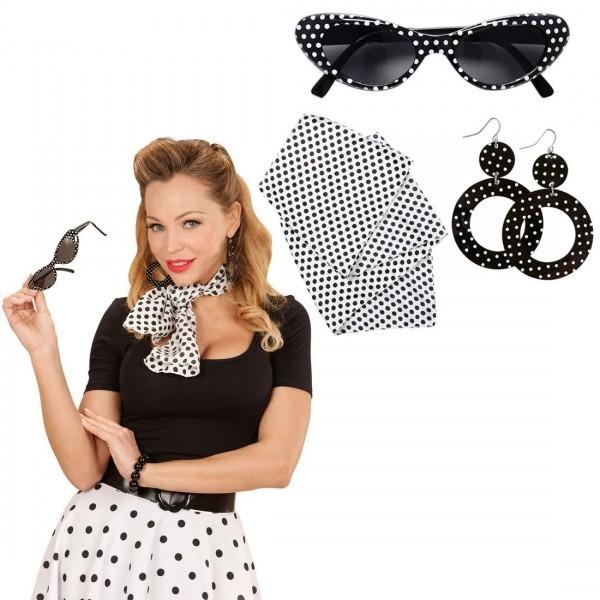 Rockabilly Costume Set With Sunglasses, Earrings And Bandana 50s