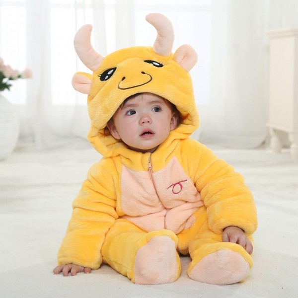 Taurus Winter Type Unisex Playsuits Romper Toddlers Jumpsuit Cute