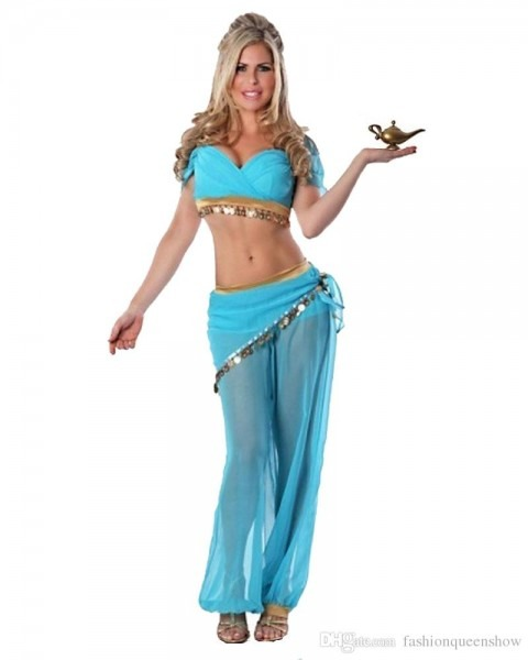 Sexy Sky Blue Arabian Costume Women Belly Dancing Dress Carnival