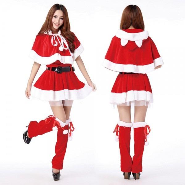 Women Voile Lining Christmas Dresses Velvet Santa Claus Costumes