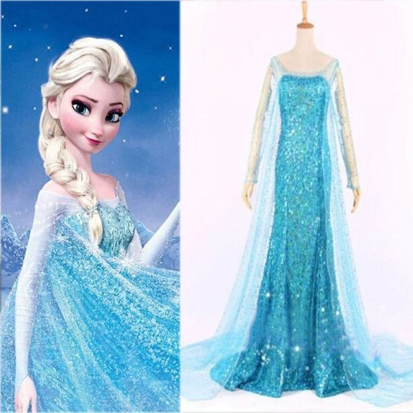 Frozen Elsa Costume For Adult Cosplay Blue Elsa Princess Dress
