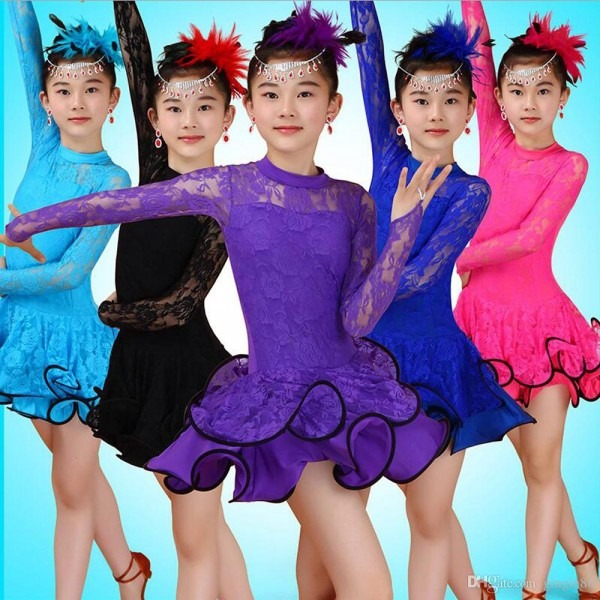 2018 Tassels Lace Girls Ballroom Latin Dance Dress Kids Jazz