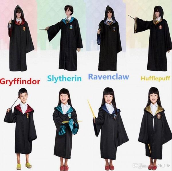Harry Potter Cosplay Costume Robe Kids Adult Gryffindor Slytherin