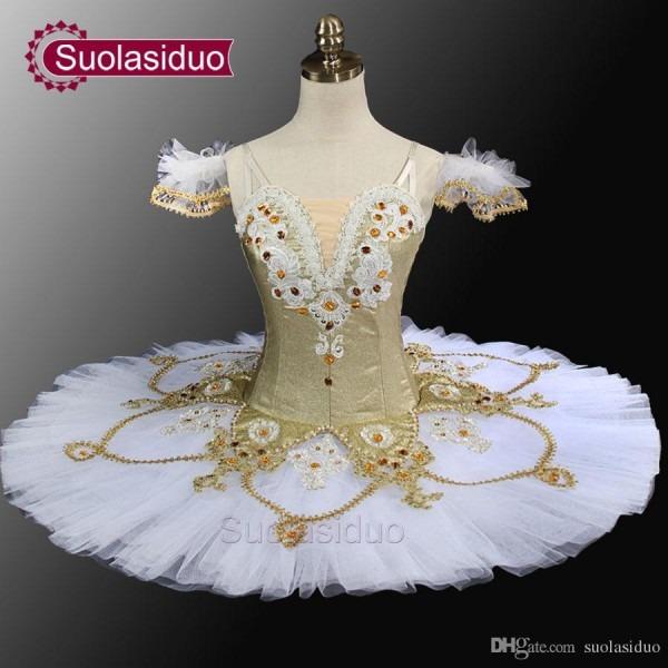 2018 White Gold Ballet Tutu Professional Tutu Pancake Classical