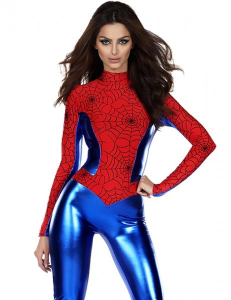 Red And Blue Spider Girl Cosplay Costume Long Sleeve Sexy Women