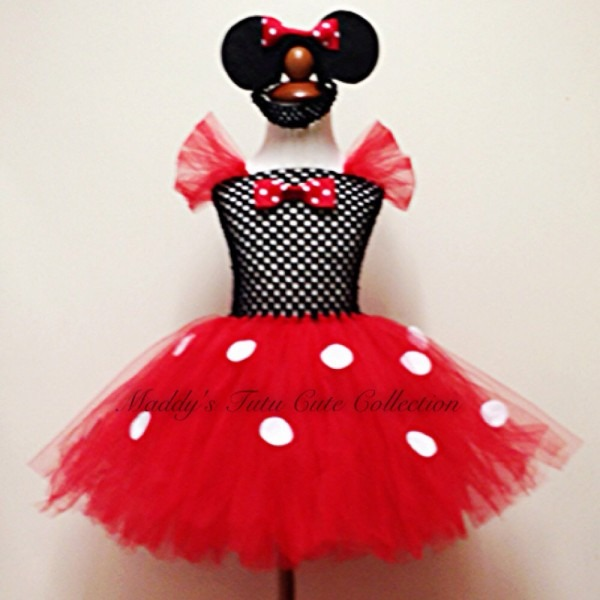 Red Minnie Mouse Inspired Tutu Dress With Matching Mouse Ears