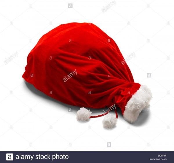 Red Velvet Santa Bag On Side Isolated On White Background Stock