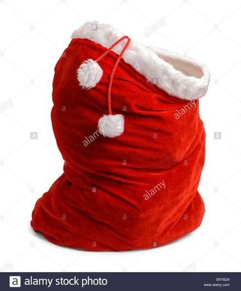 Red Velvet Santa Bag Open Isolated On White Background Stock Photo