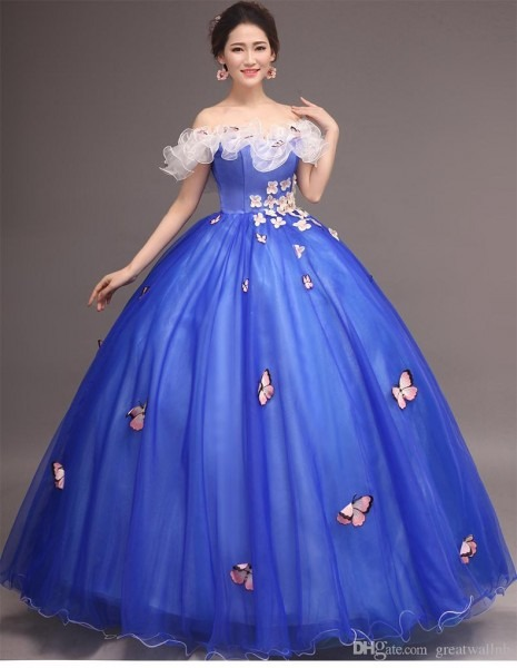 Royal Blue Flower Embroidery Butterfly Carnival Ball Gown Medieval