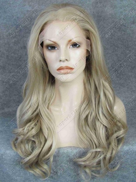 S07 Body Wavy Ash Blonde Long Synthetic Hair Lace Front Fashion
