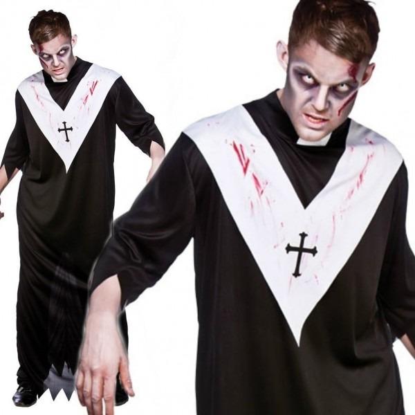 Zombie Priest Costume Vicar Adult Mens Scary Evil Halloween Fancy