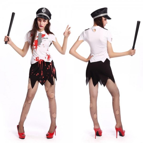 Scary Terror Ghost Police Costume Halloween Adult Cosplay Dress