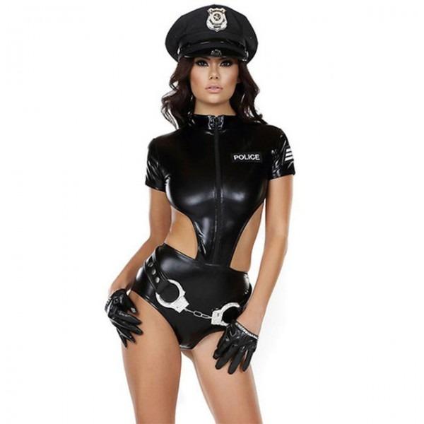 Sexy Vinyl Leather Women Police Costume Female Cop Handcuffs